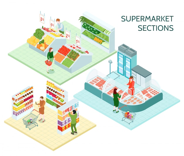 Sekcje supermarketów kompozycje izometryczne
