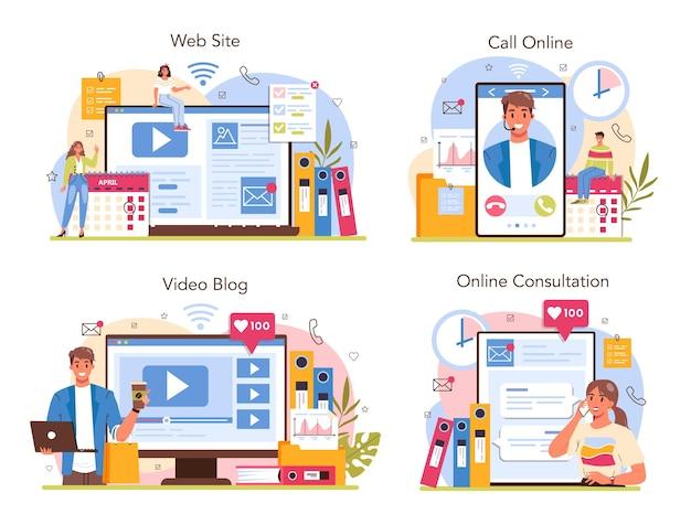 Sekretarka usługa online lub zestaw platformy. recepcjonistka odbierająca telefony i asystująca przy dokumentach. profesjonalny pracownik biurowy. konsultacje online, wideoblog, rozmowa telefoniczna, strona internetowa. płaska ilustracja wektorowa