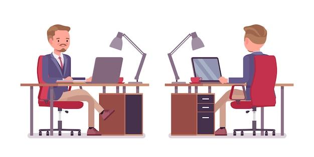Sekretarz biura mężczyzna. mądry mężczyzna ubrany w kurtkę i obcisłe spodnie, pomagający w zadaniu, zajęty pracą przy komputerze. biznesowa odzież robocza i moda miejska. ilustracja kreskówka styl, przód, tył