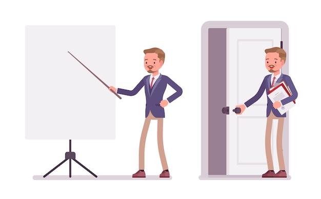 Sekretarz biura mężczyzna. mądry mężczyzna w kurtce i obcisłych spodniach, asystujący w prezentacji, stojący przy białej tablicy. trend w biznesowej odzieży roboczej, moda miejska. ilustracja kreskówka styl