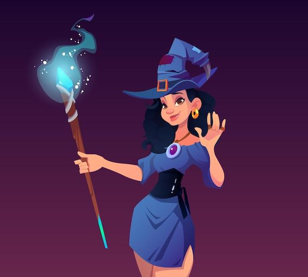 Seksowna czarodziejka kobieta w kostiumie i kapeluszu z ilustracją magicznego personelu