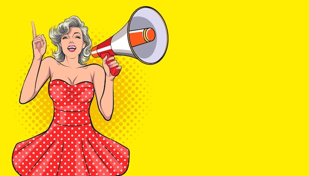 Seksowna kobieta trzymająca megafon i mówiąca w stylu komiksowym pop art