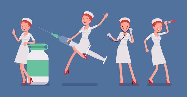 Seksowna pielęgniarka i przedmioty medyczne