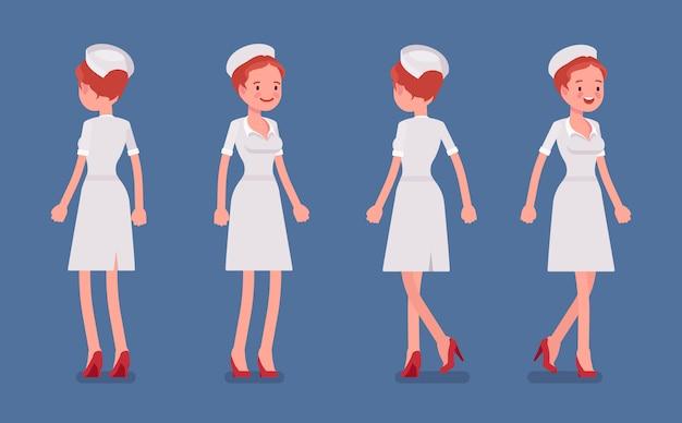 Seksowna pielęgniarka stoi i chodzi