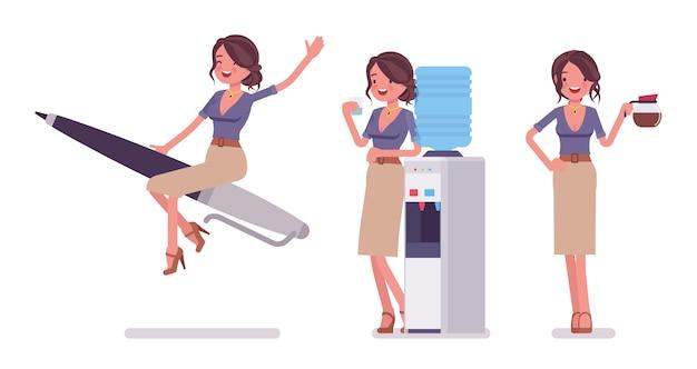 Seksowna sekretarka na służbie. elegancka asystentka biurowa na rakietę pióra, w chłodnicy wody, z kawą. koncepcja administracji biznesowej. ilustracja kreskówka styl, białe tło