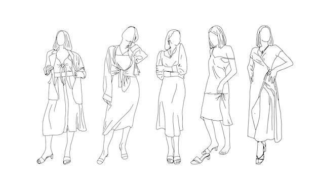 Seksowne dziewczyny w stylu liniowym. ilustracja wektorowa.