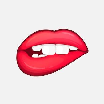 Seksowne kobiece usta na białym tle postać w stylu cartoon