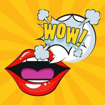 Seksowne kobiece usta z wyrazem wow w stylu pop-art.