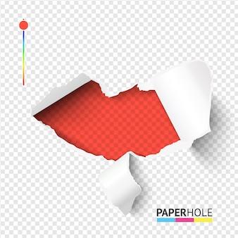 Seksowny czerwony podarty papier usta kształt otwór z wygiętymi kawałkami na przezroczystym tle