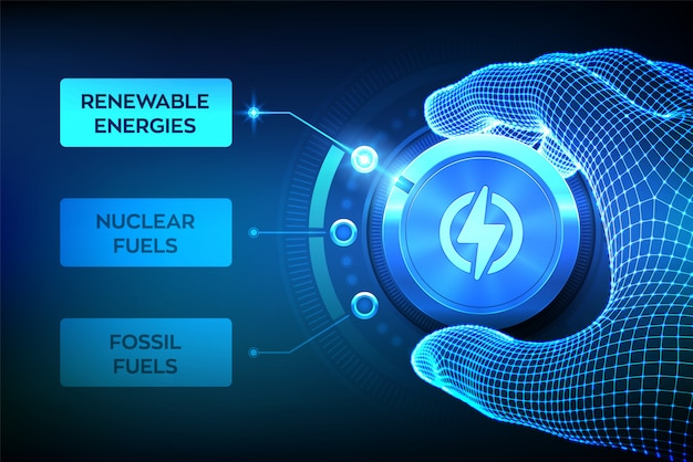 Sektory przemysłu energetycznego. model szkieletowy obraca przycisk przejścia energii, aby przełączyć się z paliw kopalnych na energię odnawialną.