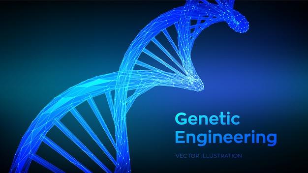 Sekwencja dna. streszczenie 3d szkielet cząsteczki dna wielokątne szkielet struktury dna. kod dna