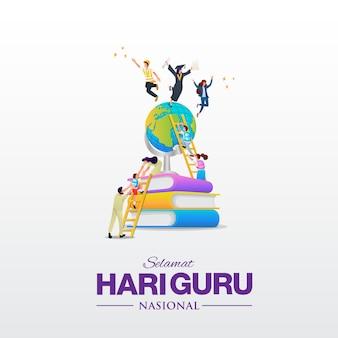 Selamat hari guru nasional. tłumaczenie: szczęśliwego dnia nauczyciela narodowego indonezji. ilustracja. nadaje się do kart okolicznościowych, plakatów i banerów