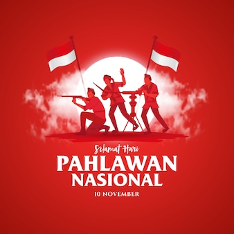 Selamat hari pahlawan nasional. tłumaczenie: szczęśliwy dzień indonezyjskich bohaterów narodowych. ilustracja dla karty z pozdrowieniami