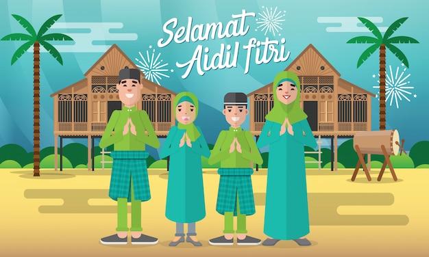 Selamat hari raya aidil fitri kartkę z życzeniami w płaskiej ilustracji z muzułmańską postacią rodziny z tradycyjnym domem malajskim / kampung i bęben