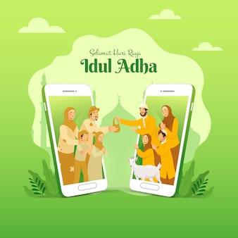 Selamat hari raya idul adha to kolejny język szczęśliwego eid al adha w języku indonezyjskim. muzułmańska rodzina dzieląca się mięsem zwierzęcia ofiarnego dla biednych ludzi dzięki koncepcji ekranu smartfona