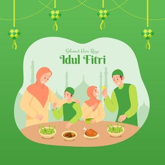 Selamat hari raya idul fitri to inny język szczęśliwego eid mubarak po indonezyjsku. muzułmańska rodzina je razem obiad