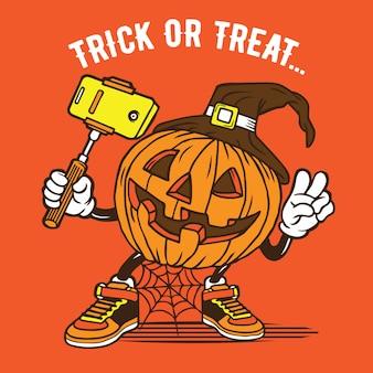 Selfie halloween pumpkin character design