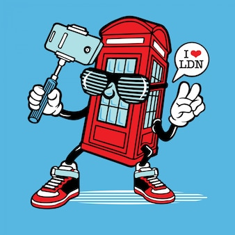 Selfie london phone booth character design