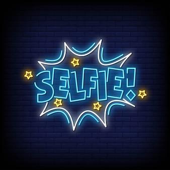 Selfie neonowe znaki styl tekst wektor