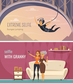 Selfie poziome bannery zestaw z ekstremalnych i rodzinne symbole selfie płaski izolowany ilustracji wektorowych