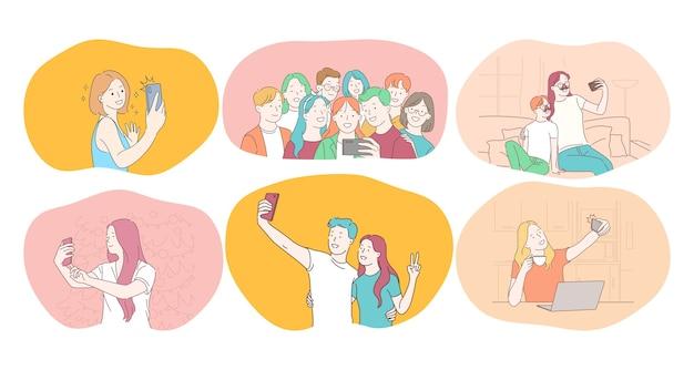 Selfie, smartfon, ilustracja wektorowa fotografii. uśmiechnięci ludzie przyjaciele para nastolatków rodziny