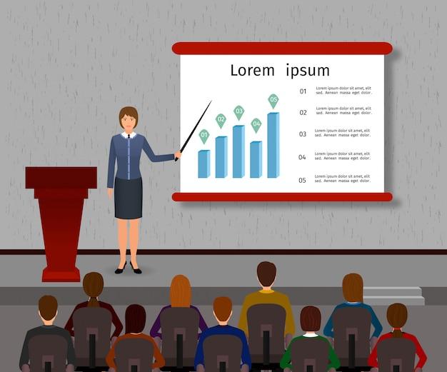 Seminarium biznesowe. pracownik biurowy grupy i mówca z podium na temat zarządzania, finansów, pracy zespołowej.