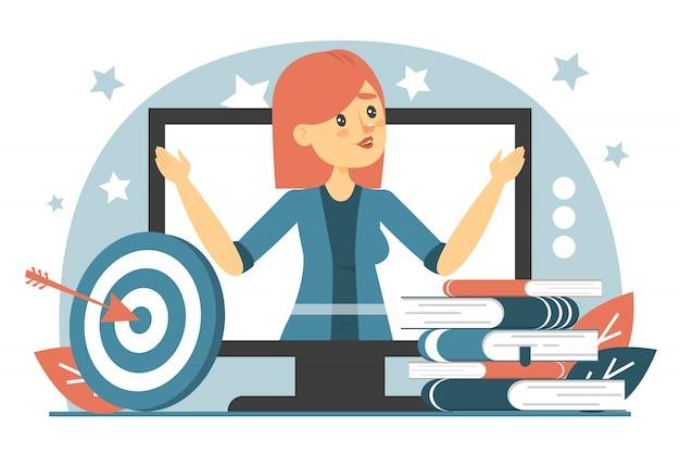 Seminarium internetowe na białym tle. pomysł edukacji online
