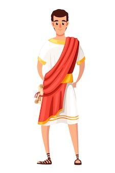 Senator lub obywatel rzymski. postać z kreskówki . spqr, człowiek ze zwojami. ilustracja na białym tle