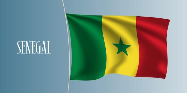Senegal macha flagą ilustracja