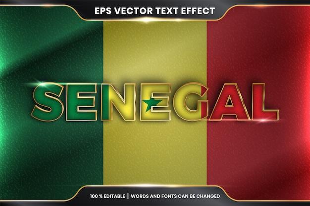 Senegal z flagą narodową kraju, edytowalny efekt tekstowy ze złotym kolorem
