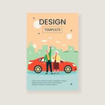 Senior para podróż samochodem ilustracja