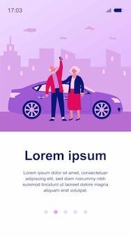 Senior para podróż samochodem. stary mężczyzna i kobieta kupując lub wynajmując ilustrację samochodową. jazda, transport miejski, koncepcja udostępniania samochodów dla banera, strony internetowej lub strony docelowej