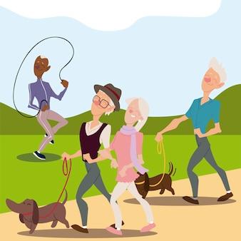 Seniorzy aktywni, starzy ludzie chodzą z psami i dojrzały mężczyzna z ilustracją skaczącą przez skakankę