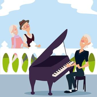 Seniorzy aktywnych, spacerująca para staruszków i starsza kobieta grająca na pianinie ilustracja