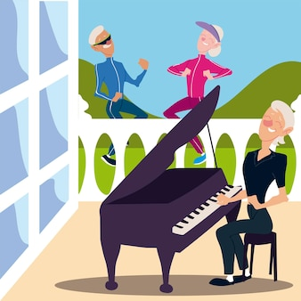 Seniorzy aktywnych, staruszek i kobieta jogging i starsza kobieta gra na pianinie ilustracja