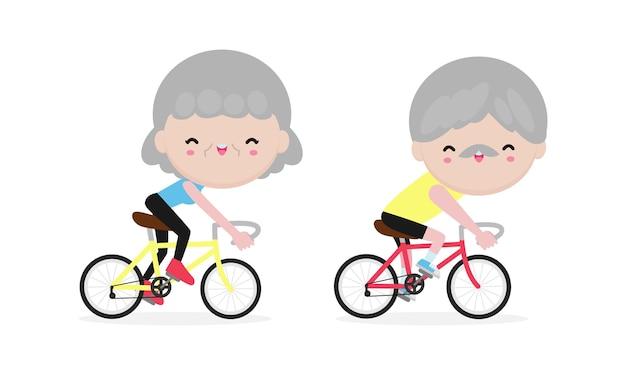 Seniorzy jadący na rowerze, szczęśliwi emeryci. zdrowy tryb życia.
