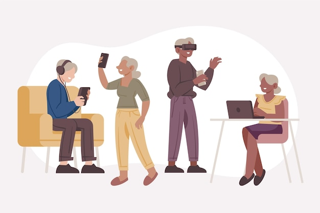 Seniorzy o płaskiej konstrukcji wykorzystujący technologię