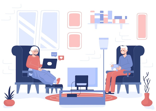 Seniorzy ręcznie rysowane przy użyciu ilustracji technologii