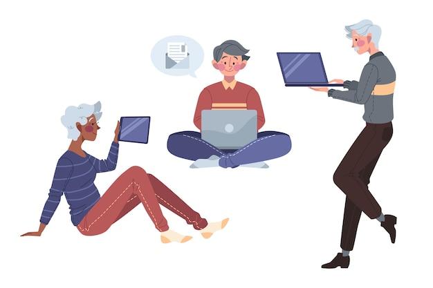 Seniorzy Rysowani Przy Użyciu Technologii Darmowych Wektorów