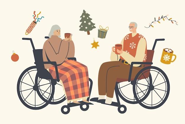 Seniorzy siedzący na wózku inwalidzkim i pijący gorące napoje, postacie płci męskiej i żeńskiej świętują nawzajem życzenia bożonarodzeniowe