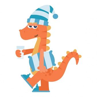 Senny dinozaur z poduszką i szklanką mleka