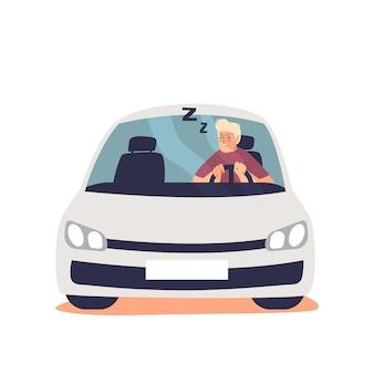 Senny zmęczony człowiek jazdy samochodem czuje się senny. niebezpieczny kierowca śpiący za kierownicą
