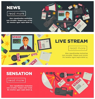Sensacja wiadomości i promocyjne transmisje internetowe banery ustawione
