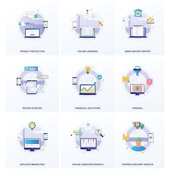 Seo business flat ilustracje pakietu