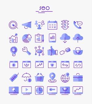 Seo cienkie liniowe ikony