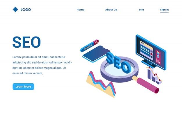 Seo dla optymalizacji strony internetowej izometryczny 3d