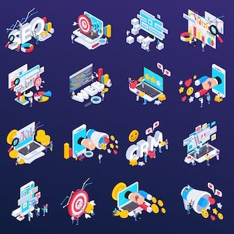 Seo ikony ustawiać z zawartości i analizy symbolami isometric odizolowywającymi
