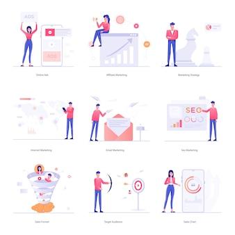 Seo, ilustracje znaków marketingu internetowego