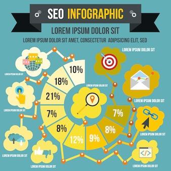 Seo infographic w stylu płaskiego dla każdego projektu