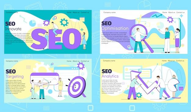 Seo internetowy baner dla biznesu, strony internetowej, strony internetowej na ilustracji internetowych z ludźmi pracującymi.